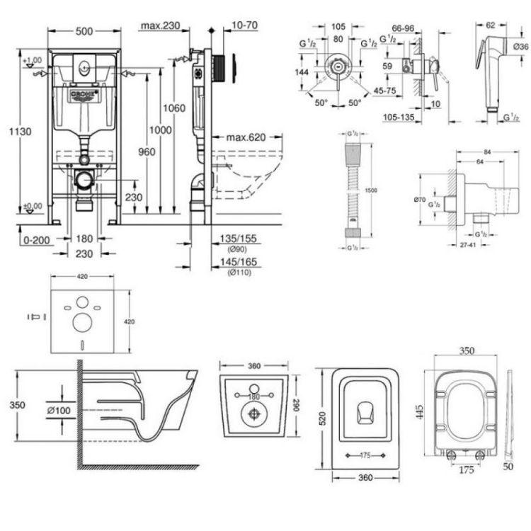 Комплект інсталяція Grohe Rapid SL 38722001 + унітаз з сидінням Qtap Crow WHI 5170 + набір для гігієнічного душу зі змішувачем Grohe BauClassic 111048 - 2