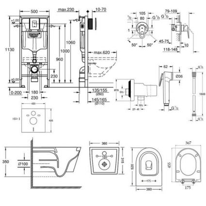 Комплект інсталяція Grohe Rapid SL 38827000 + унітаз з сидінням Qtap Jay QT07335176W + набір для гігієнічного душу зі змішувачем Grohe BauLoop 111042 - 2