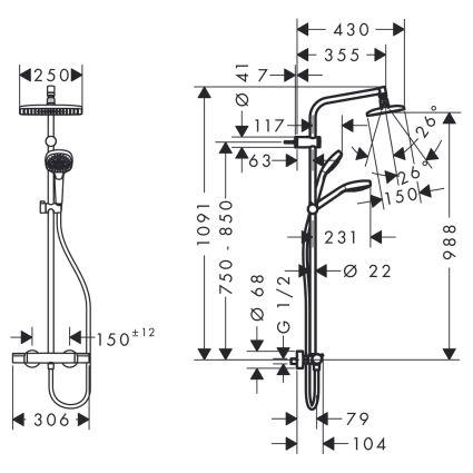 My Select Showerpipe 240 душевая система с термостатом, белый/хром - 2