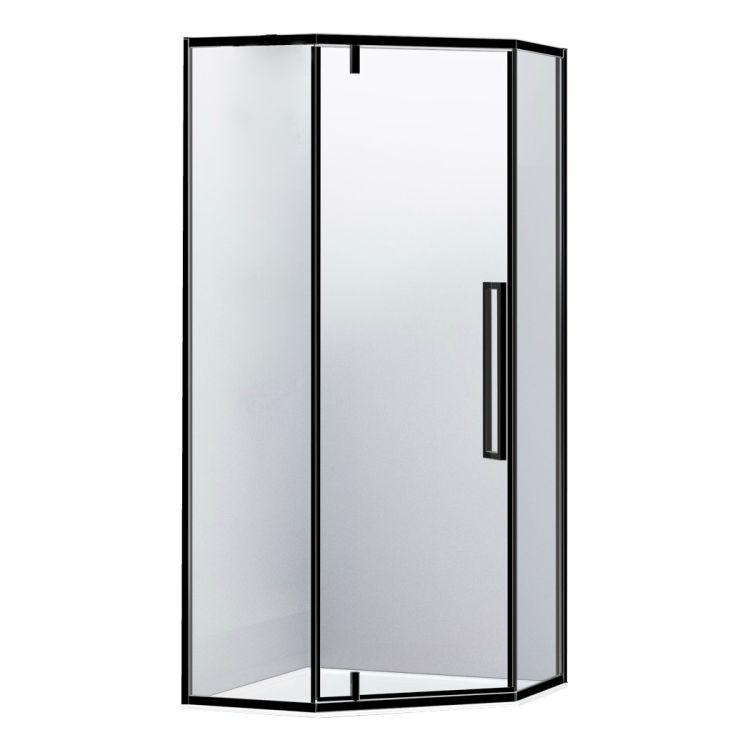 A LÁNY Душевая кабина пятиугольная, реверсивная, 1000*1000*1950 (стекла+двери), двери распашные, стекло прозрачное 6 мм, профиль черный - 1
