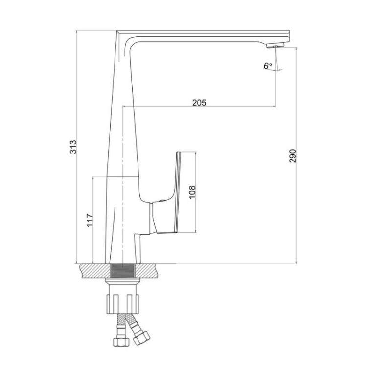 Змішувач для кухонного миття Q-tap Estet CRM 007F - 2