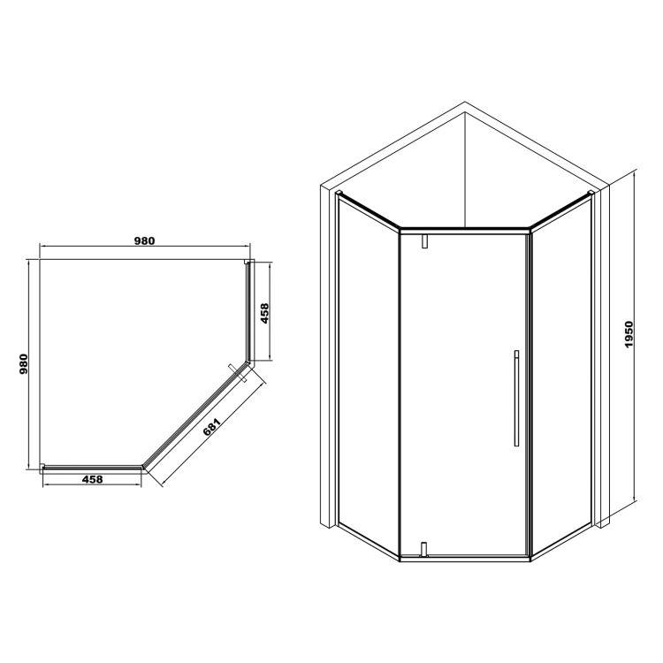 A LÁNY Душова кабіна п'ятикутна, реверсивна, 1000*1000*1950 (скла + двері) , двері розпашні, скло 6 мм, профіль хром - 2