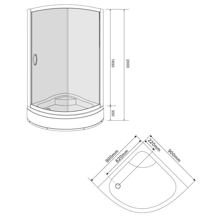 CSARDAS душевая кабина 90*90*200 см, на среднем поддоне, профиль хром, стекло тонированное 6мм, однодвер - 2