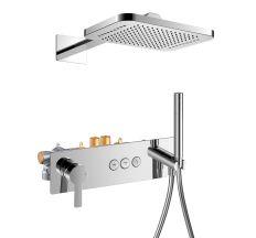 SMART CLICK система душова прихованого монтажу (змішувач для душу, верхній душ 312*218 мм латунь 2 режими, ручний душ стік, шланг, тримач), хром