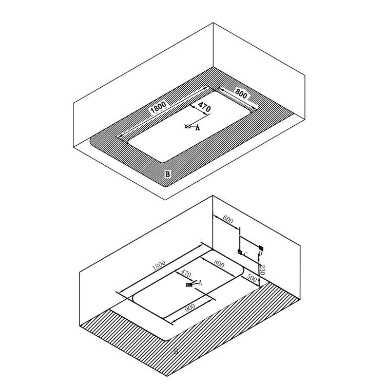 Ванна окремо стоїть 1800*800*620мм, акрилова, злив-перелив, біла - 2