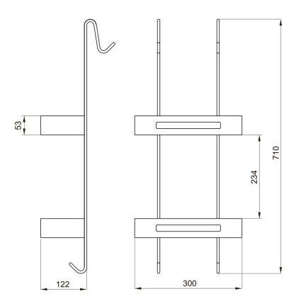 Навісна поличка, подвійна з пластиковими вставками 720*300*137мм, хром - 2