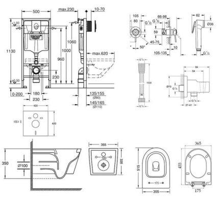 Комплект інсталяція Grohe Rapid SL 38722001 + унітаз з сидінням Qtap Swan QT16335178W + набір для гігієнічного душу зі змішувачем Grohe BauClassic 111048 - 2