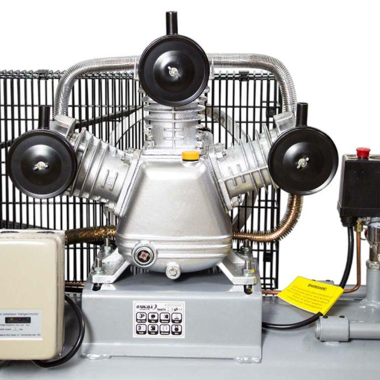 Компрессор ременной трехцилиндровый 380В 3кВт 610л/мин 10бар 135л Sigma (7044711) - 3