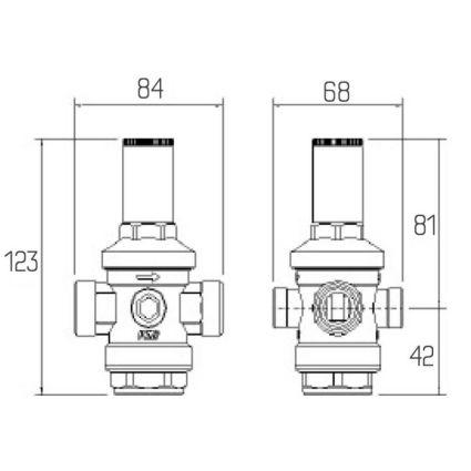 """246 Редуктор тиску води 3/4"""" ІСМА (тиск на вході 25 бар/на виході 1-6) - 2"""
