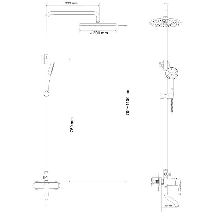 TULIP система душевая (смеситель для ванны, верхний и ручной душ) - 2