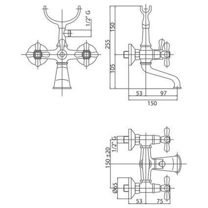 Змішувач для ванни Bianchi Old Fashion VSCOLF1023#OLF00CRM (VSCOLF 102300 CRM) - 2