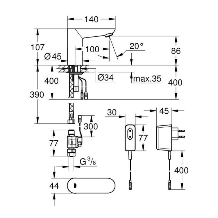 Змішувач для раковини Grohe Euroeco Cosmopolitan E 36269000 безконтактний (без функції змішування во - 2