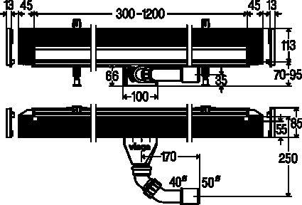 Душевой лоток Advantix Wall drain Vario высота 70мм, 300-1200мм, (736736) - 4