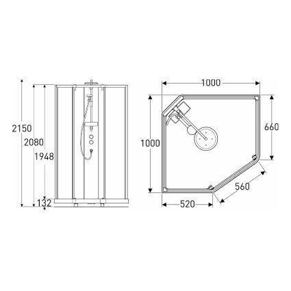 SHOWERAMA 10-5 Comfort душова кабіна п'ятикутна 100*100см, профіль сріблястий, прозоре скло матове скло - 2