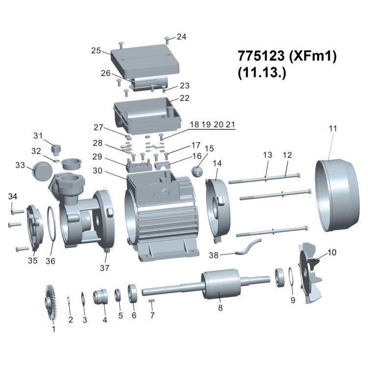Насос вихревой 0.37кВт Hmax 40м Qmax 40л/мин LEO (775123) - 2