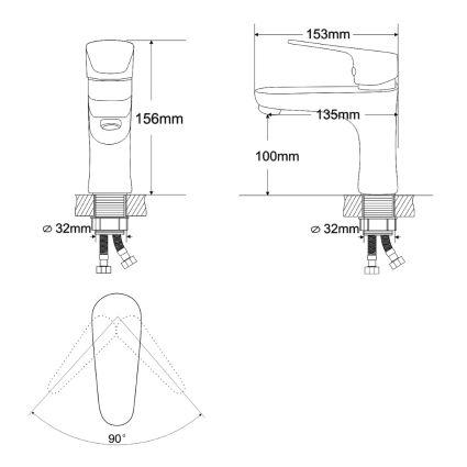 BUTTERFLY смеситель для умывальника однорычажный на гайке, хром 35 мм - 2
