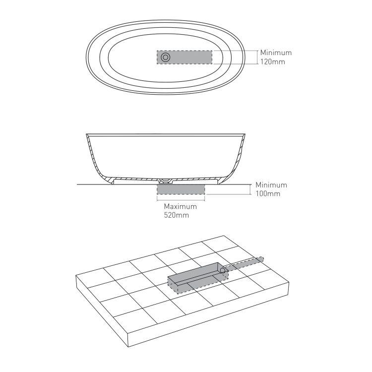 Ванна отдельностоящая каменная 170*80*54см, с переливом и донным клапаном - 4