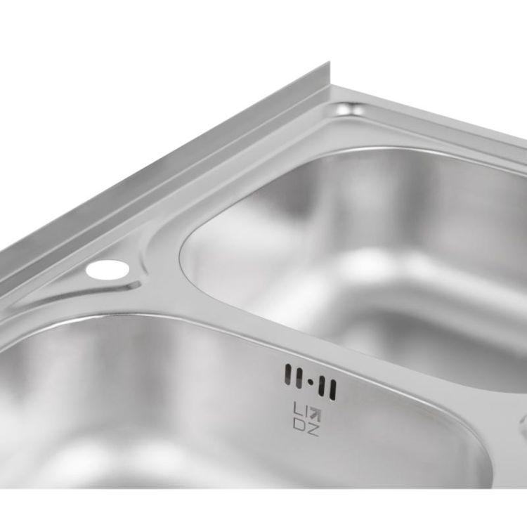Кухонна мийка Lidz 5080 Satin 0,8 мм (LIDZ5080SAT8) - 6