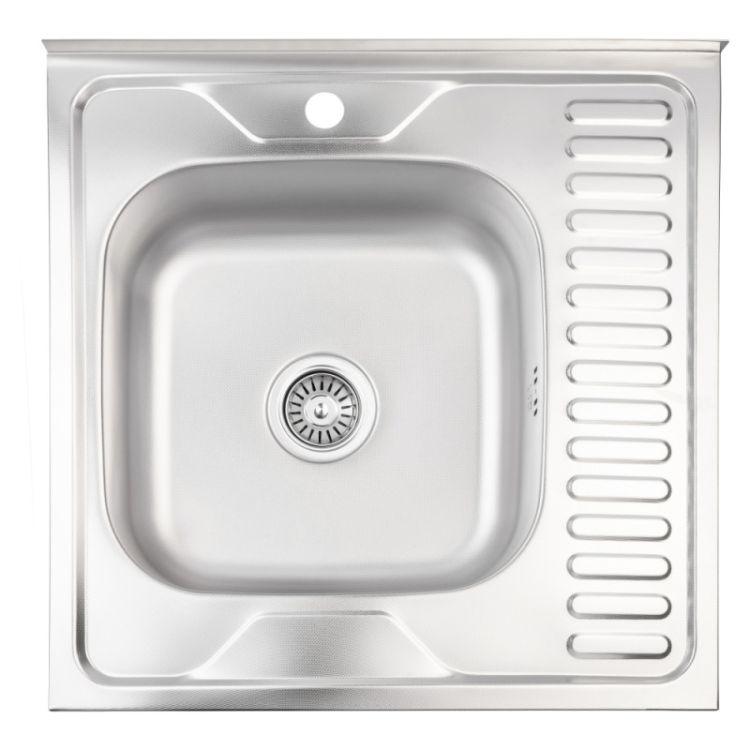 Кухонна мийка Lidz 6060-R Decor 0,8 мм (LIDZ6060RDEC08) - 1