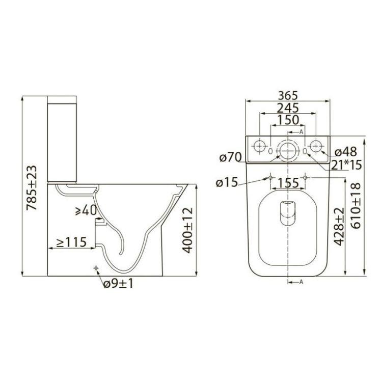 LEON Rimless компакт: унитаз напольный 61*35*79см, гориз. выпуск, нижний подвод, бачок 3/4,5л, сиденье Slim slow-closing - 2