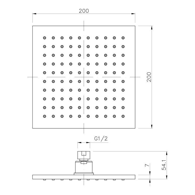 Душ верхний 200х200 мм, латунь - 2