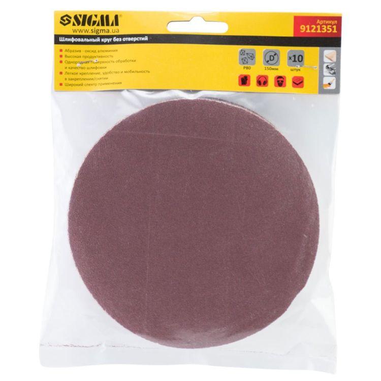 Шлифовальный круг без отверстий Ø150мм P80 (10шт) Sigma (9121351) - 5