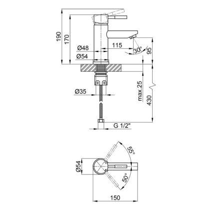 Змішувач для раковини Lidz (NKS) 12 32 001F - 2