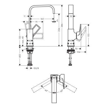Metropol Змішувач для раковини, одноважільний з донним клапаном push-open, хром, з ручкою-петлею - 2