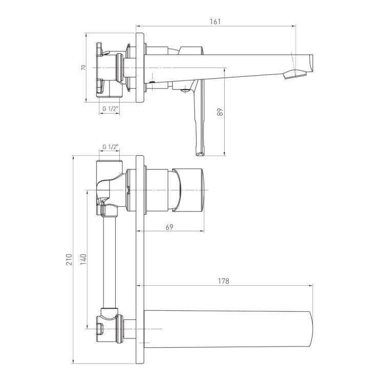 BENITA смеситель для раковины (настенный), хром, 35 мм - 2