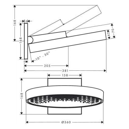Rainfinity Верхний душ 360 1jet с настенным соединителем, хром - 2