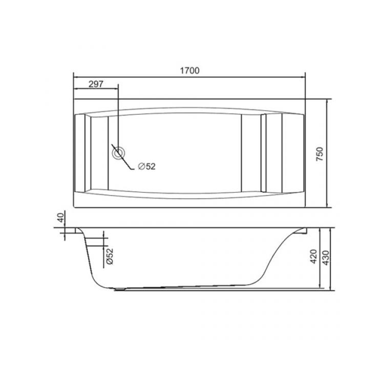 Ванна акриловая Cersanit Virgo 170x75 с ножками - 4