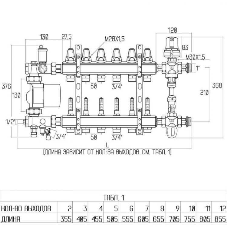"""0111 Колекторн. группа 1*9 д/с-мы """"теплый пол"""" с расходомерами ICMA - 2"""