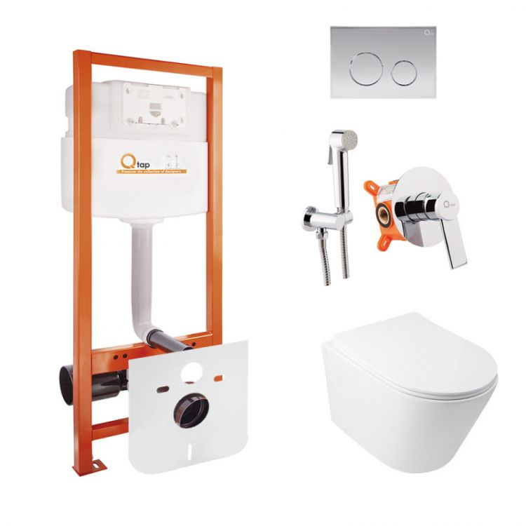 Комплект Qtap інсталяція Nest QTNESTM425M11CRM + унітаз з сидінням Swan QT16335178W + набір для гігієнічного душу зі змішувачем Form QTFORMCRM001AB - 1