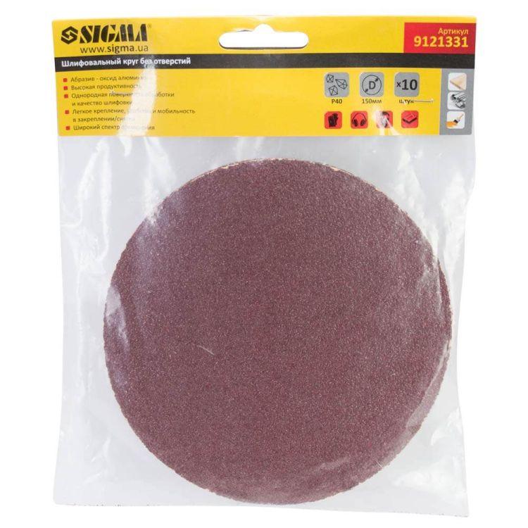 Шлифовальный круг без отверстий Ø150мм P40 (10шт) Sigma (9121331) - 5