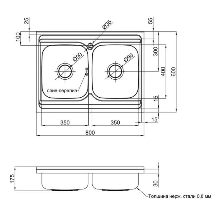 Кухонна мийка Lidz 6080 Decor 0,8 мм (LIDZ6080DEC08) - 2