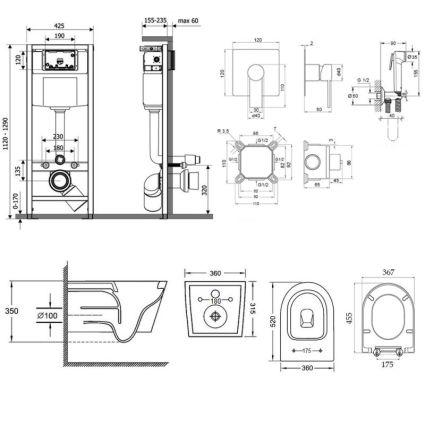 Комплект Qtap інсталяція Nest QTNESTM425M11CRM + унітаз з сидінням Jay QT07335176W + набір для гігієнічного душу зі змішувачем Form QTFORMCRM001AB - 2