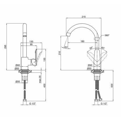 Змішувач для кухні Qtap Linea CRM 007F - 2