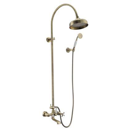 CUTHNA antiqua система душова (двохвентильний змішувач для ванни, верхній та ручний душ), бронза - 1