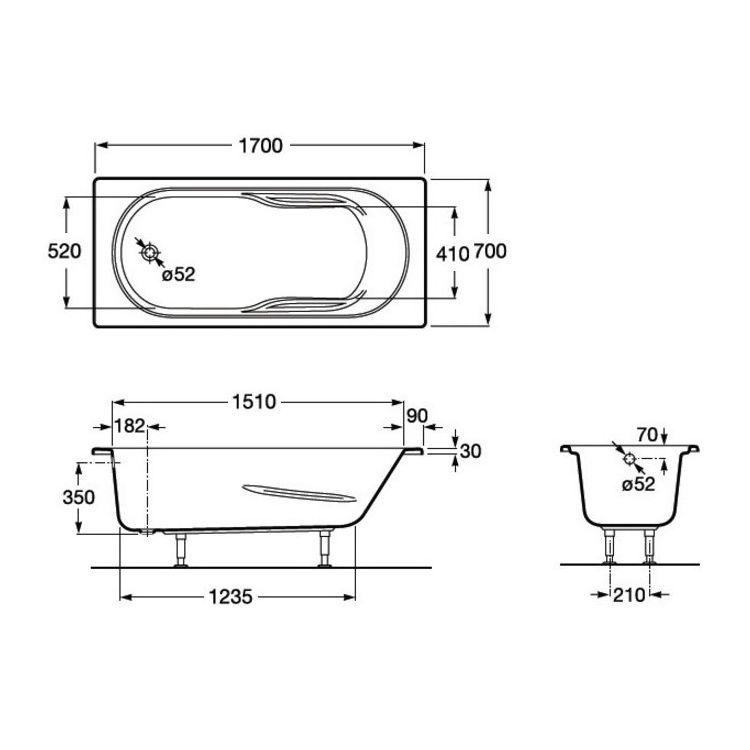 GENOVA ванна 1700*700мм, з ніжками - 2