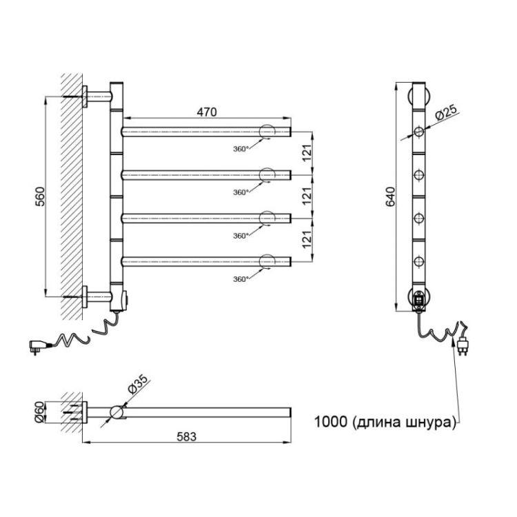 Електрична рушникосушарка Qtap Glide 11108R CRM - 2
