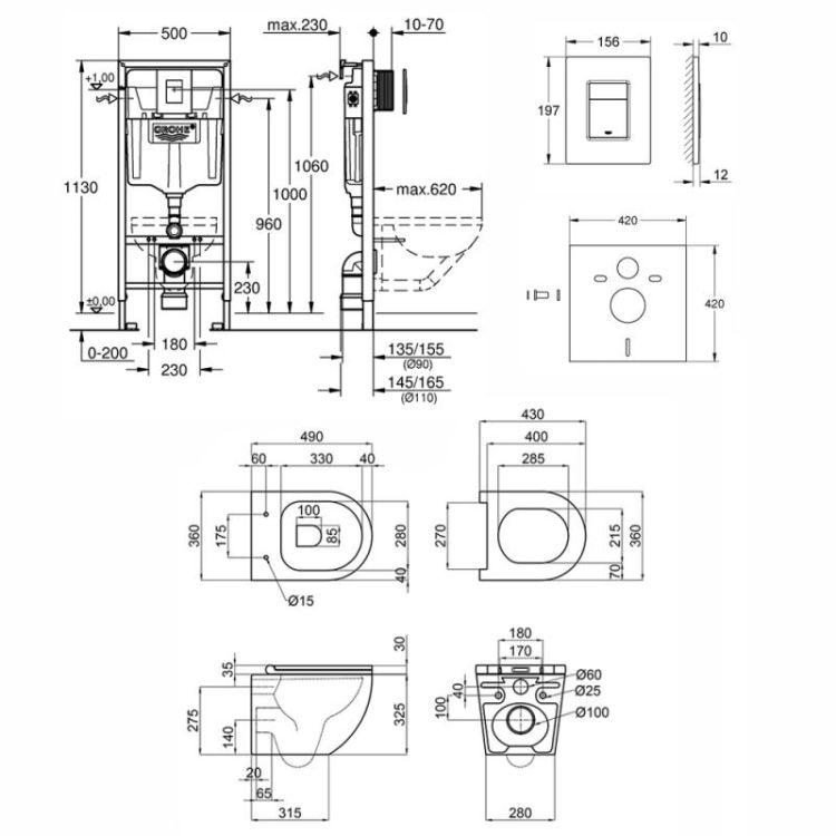 Набір інсталяція 4 в 1 Grohe Rapid SL 38772001 + унітаз з сидінням Qtap Robin QT1333046ENRW - 2