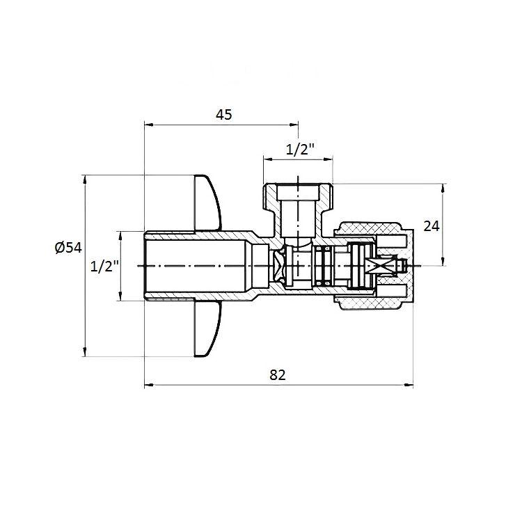 Угловой вентиль G1/2-G1/2 - 2
