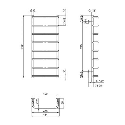 """Рушникосушарка водяна Lidz Standard (CRM) D32/20х1/2"""" 400x1000 P8 - 2"""