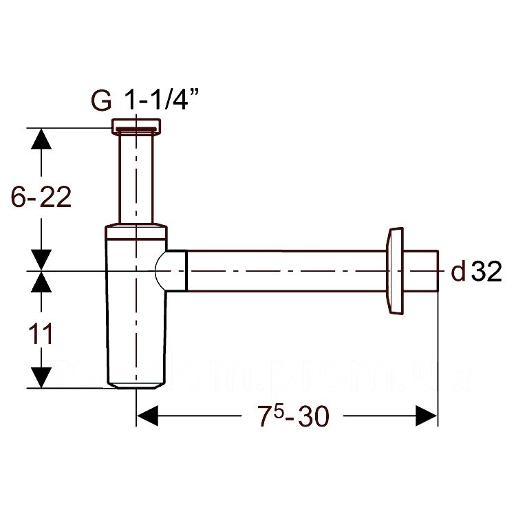 Geberit Сифон для умивальника, хром глянцевий, d32 - 2