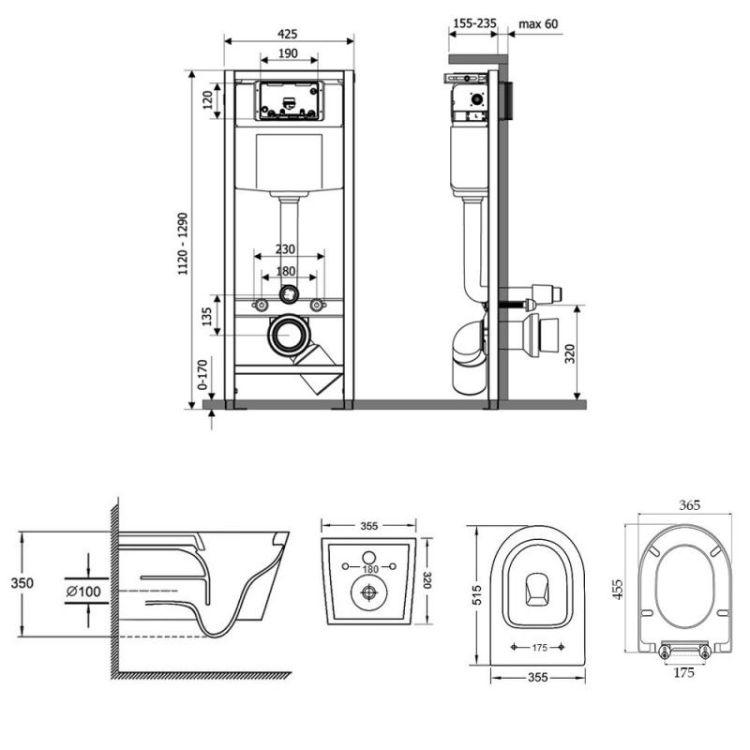 Набір Qtap інсталяція Nest QTNESTM425M11SAT + унітаз з сидінням Swan QT16335178W - 2