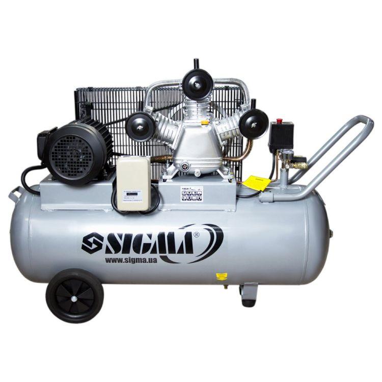 Компрессор ременной трехцилиндровый 380В 3кВт 610л/мин 10бар 135л Sigma (7044711) - 1