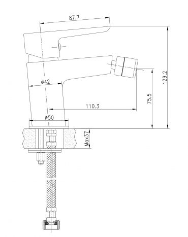 BRECLAV змішувач для биде, хром/білий, 35мм - 2