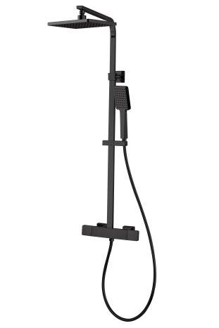 DE LA NOCHE душова система з термостатом (змішувач для душу, верхній та ручний душ 1 режим, шланг полімер 1,5 м) - 1