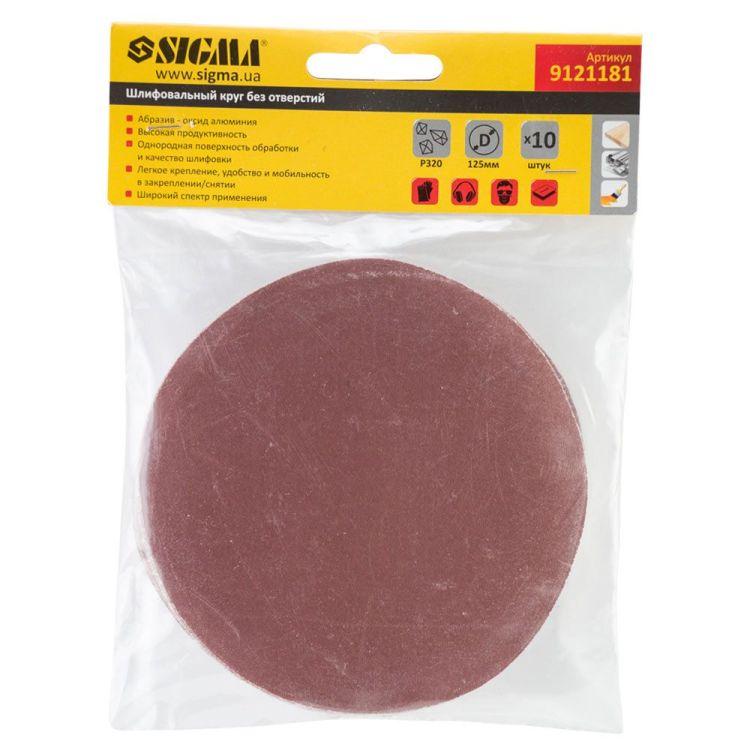 Шлифовальный круг без отверстий Ø125мм P320 (10шт) Sigma (9121181) - 5