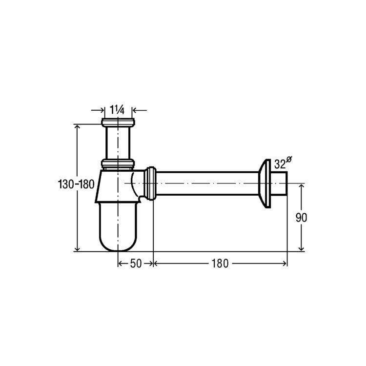 Сифон для умивальника 1 1/4, хром (100674) - 2